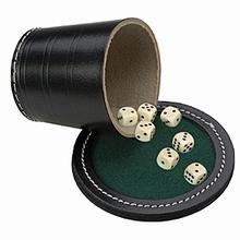 Pokerbeker, deksel en dobbelstenen