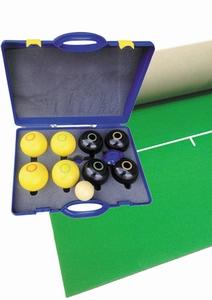 Koersbal compleet met zwarte + gele koersballen (bias 4)