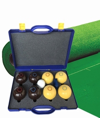Koersbal compleet met bruine + gele koersballen ( bias 3)